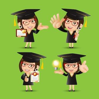 Ludzie ustawiają postać absolwenta edukacji