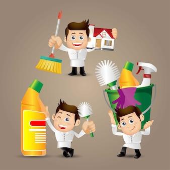 Ludzie ustawiają zawód cleaner