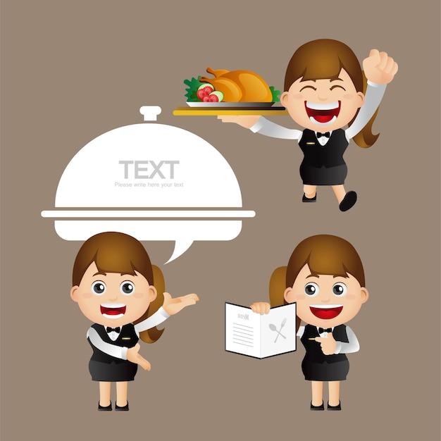 Ludzie ustawiają zawód kelnera