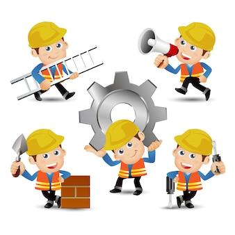 Ludzie ustawiają zawód konstruktora za pomocą narzędzi