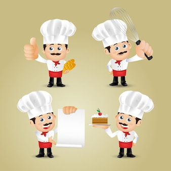 Ludzie Ustawiają Zawód Szefa Kuchni Premium Wektorów