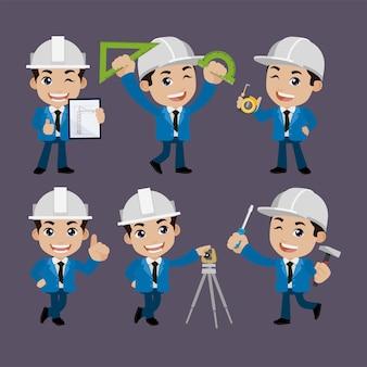 Ludzie ustawiają zawód zestaw postaci budowniczego w różnych pozach