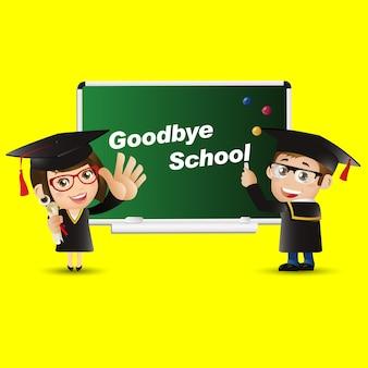 Ludzie ustawieni edukacja absolwent pożegnanie szkoły mężczyzna kobieta