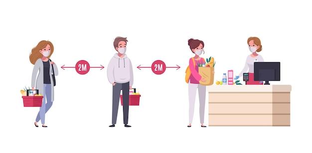 Ludzie utrzymujący dystans społeczny w supermarkecie ilustracja kreskówka kolejka