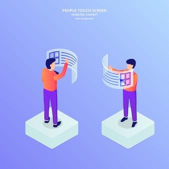Ludzie uzyskują dostęp do informacji o danych za pomocą hologramowego wykresu dotykowego i wykresu w izometrycznym płaskim stylu