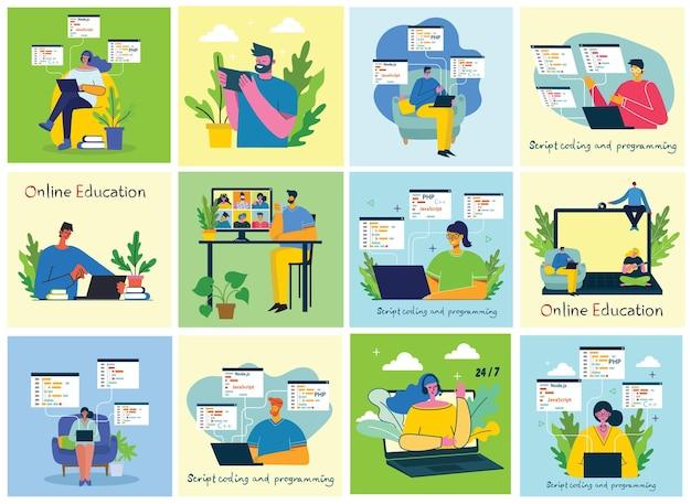 Ludzie używają czatu wideo na komputerach stacjonarnych i laptopach do prowadzenia konferencji i programowania