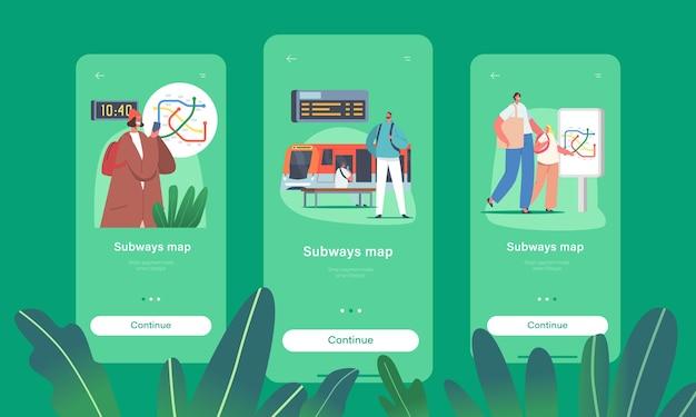 Ludzie używają mapy w szablonie ekranu pokładowego aplikacji mobilnej metro. postacie na stacji metra z pociągiem, schodami ruchomymi, mapą, zegarem i wyświetlaczem cyfrowym, koncepcja miasta podmiejskiego. ilustracja wektorowa ludzi