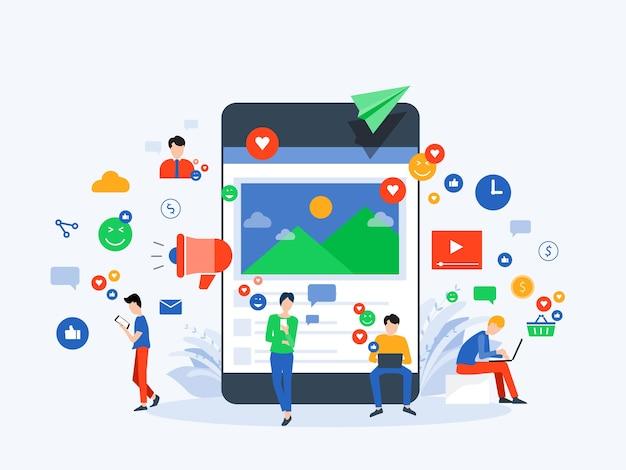 Ludzie używają mediów społecznościowych do koncepcji komunikacji biznesowej