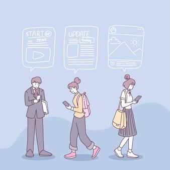 Ludzie używają smartfonów do otrzymywania wiadomości w życiu codziennym.