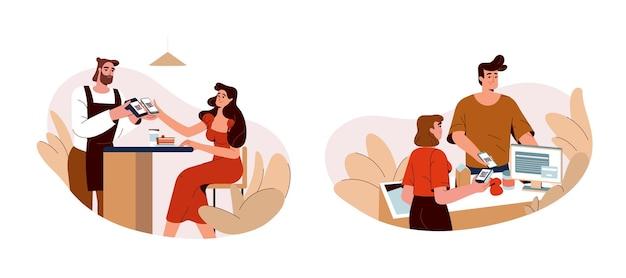 Ludzie używają telefonu do skanowania kodu qr i szybkich płatności internetowych. kupujący płacą przez aplikację na smartfonie w kawiarni, restauracji lub sklepie. płaska koncepcja mobilnego bezprzewodowego systemu płatności bezgotówkowych lub zbliżeniowych.