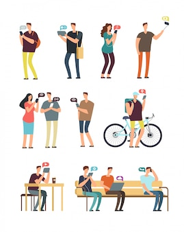 Ludzie używają telefonu komórkowego, mobilnego interneta i smartphone nałogu wektoru pojęcia. wektor znaków kreskówek na białym tle