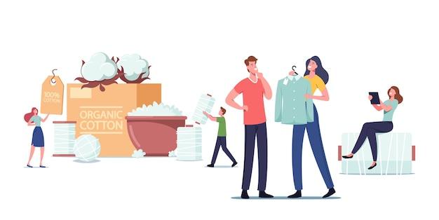Ludzie używają włókna bawełnianego do produkcji ekologicznej odzieży, ekologicznej produkcji materiałów naturalnych. małe postacie męskie i żeńskie w ogromnych kwiatach i szpulkach nici. ilustracja kreskówka wektor