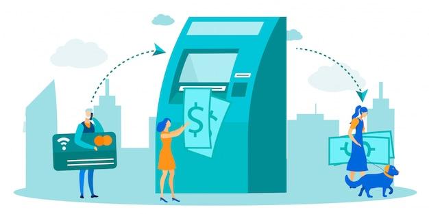 Ludzie używający bankomatu do metafory transakcji pieniężnych