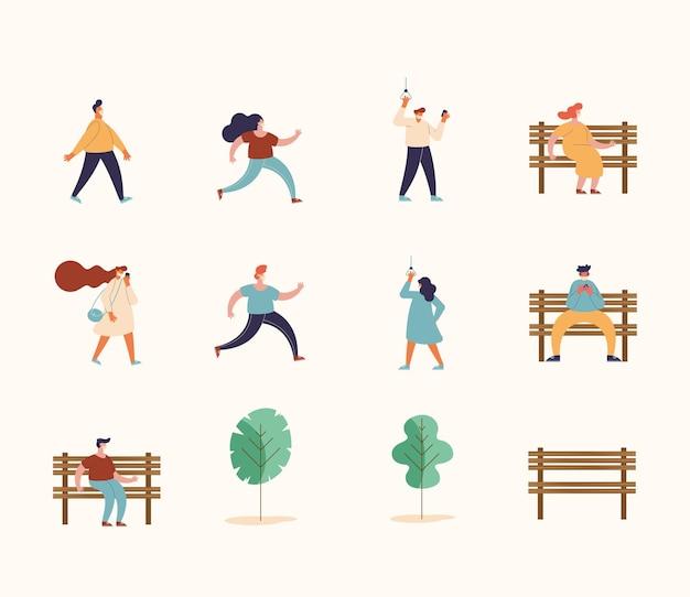 Ludzie używający ilustracji masek
