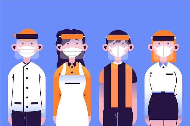 Ludzie używający osłony twarzy i maski