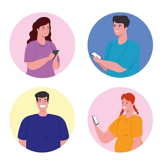 Ludzie używający smartfona w ramce koła, media społecznościowe i koncepcja technologii komunikacji