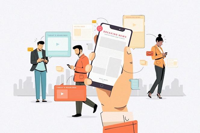 Ludzie używający swoich telefonów komórkowych do wiadomości