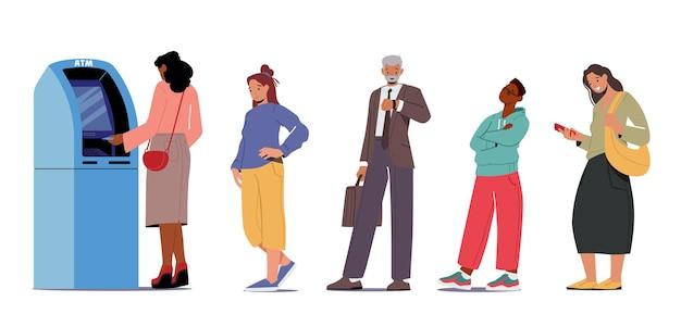 Ludzie w atm line. postacie klientów płci męskiej i żeńskiej stoją w kolejce w banku i czekają na pobranie lub wypłatę pieniędzy