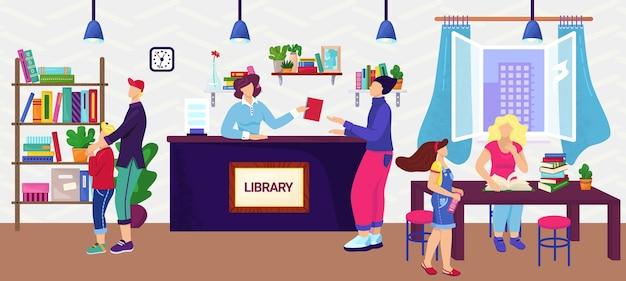 Ludzie w bibliotece, czytelnicy, koncepcja wiedzy, ilustracja. dorośli i dzieci w bibliotece wśród półek z książkami. edukacja i nauka, nauka. bibliotekarz pomaga zamówić książkę.