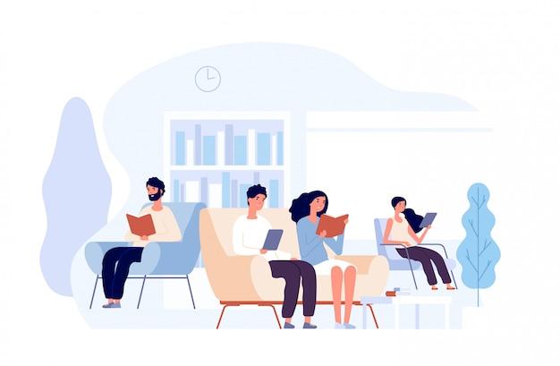 Ludzie w bibliotece. osoby czytające książki siedząc na krześle. studenci studiujący wiedzę uniwersytecką w koncepcji biblioteki uniwersyteckiej