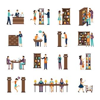Ludzie w bibliotece zestaw ikon