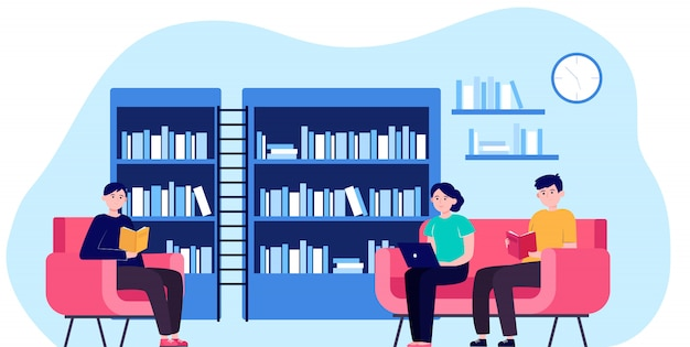 Ludzie w bibliotecznej płaskiej wektorowej ilustraci
