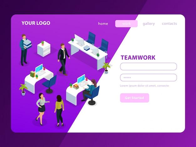 Ludzie w biurze podczas pracy izometrycznej strony internetowej na fioletowy biały
