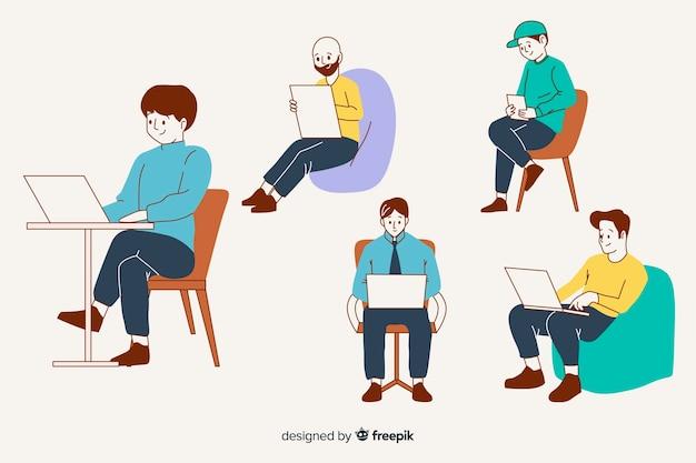 Ludzie w biurze w koreańskim stylu rysowania