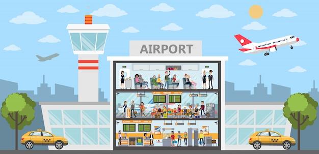Ludzie w budynku lotniska. miasto na zewnątrz z samolotami i terminalem.