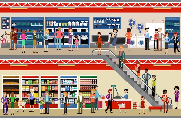 Ludzie w centrum handlowym. supermarket. sprzęt i elektronika