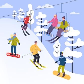 Ludzie w ciepłych ubraniach wykonujący zimowe zajęcia. ilustracja ludzi na nartach, snowboardzie w ośrodku narciarskim. zimowe zajęcia na świeżym powietrzu z rodziną. ilustracja