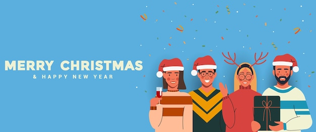 Ludzie w czapkach świętego mikołaja bawią się i świętują boże narodzenie i nowy rok. szczęśliwego nowego roku i wesołych świąt bożego narodzenia koncepcja.