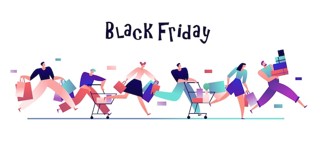 Ludzie w czarny piątek. zadowoleni kupujący z torbami na zakupy, promocja sprzedaży ze zniżkami i koncepcja zakupoholików. kupujący biegnie do zakupu, ilustracja zakupów ze zniżką