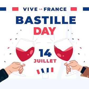 Ludzie w dniu bastylii opiekają kieliszki szampana