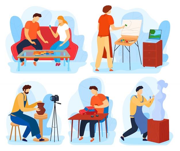 Ludzie w domowym zestawie ilustracji hobby, postaci z kreskówek malują, wykonują lub tworzą rzeźbę, przyjaciele grają w gry planszowe