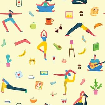 Ludzie w domu, joga, sport, gra na gitarze. wzór, aktywność ludzi w domu.
