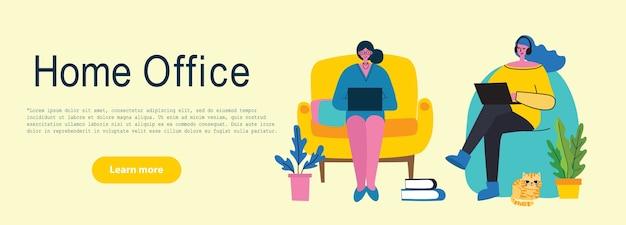 Ludzie w domu poddani kwarantannie. praca w domu, przestrzeń coworkingowa, koncepcja nowoczesnego stylu płaskiego