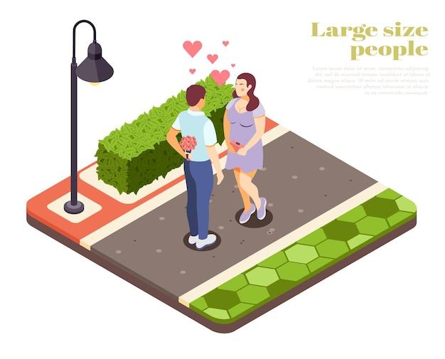 Ludzie w dużych rozmiarach romantyczna ilustracja izometryczna na świeżym powietrzu