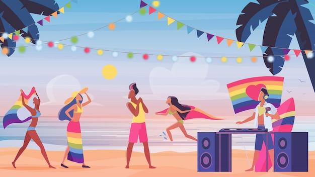 Ludzie w ilustracji lgbt dumy na plaży.