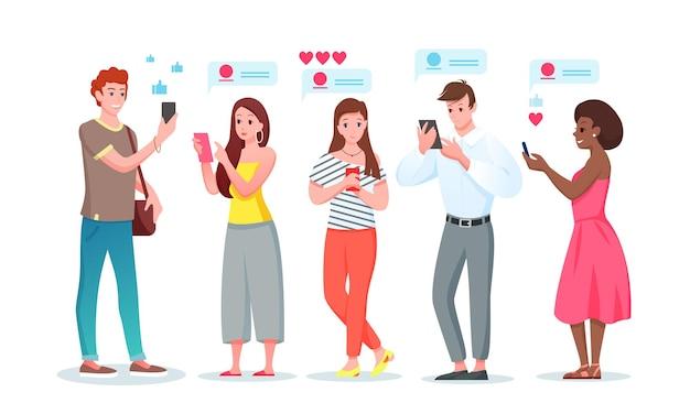 Ludzie w internecie czat postacie kobiety z kreskówek młody mężczyzna na czacie w telefonie komunikatora mediów społecznościowych