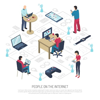 Ludzie w internecie izometryczny ilustracja