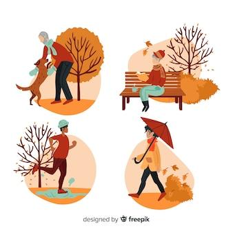 Ludzie w jesiennym parku