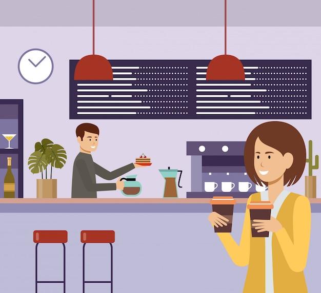 Ludzie w kawiarni. przerwa na lunch. napoje czas na kawę. płaska ilustracja
