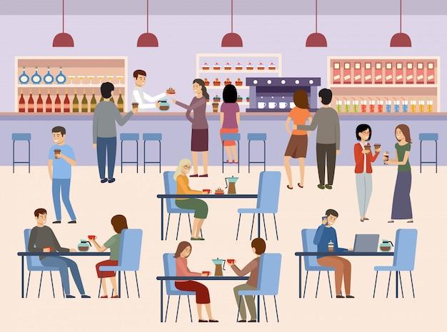 Ludzie w kawiarni. przerwa na lunch. napoje czas na kawę