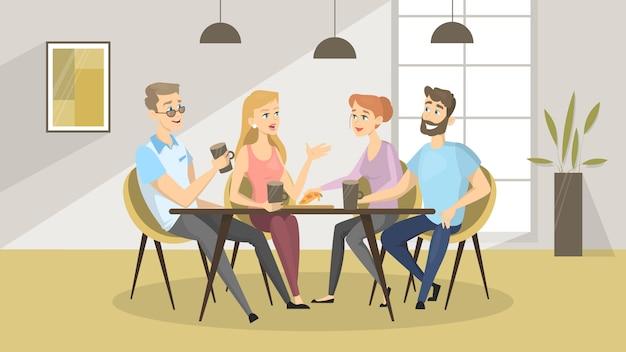 Ludzie w kawiarni. przyjaciele jedzą i piją razem.