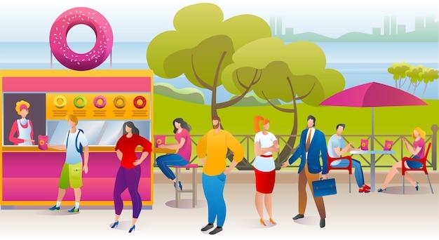 Ludzie w kawiarni w parku, kiosk z pączkami, ilustracja ciężarówki ulicznej słodkiej żywności. letni festiwal uliczny żywności w mieście, fast food na świeżym powietrzu. wypoczynek w parku, ludzie jedzą na ulicznym plakacie.