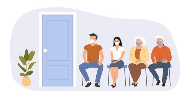 Ludzie w każdym wieku siedzą w kolejce czekając na szczepienie covid-19. ilustracja wektorowa.