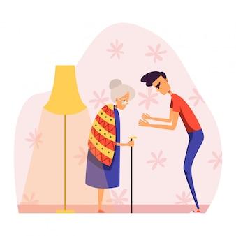 Ludzie w kłótni ilustraci, kreskówka agresywny młodego człowieka charakter kłóci się, krzyczy przy starszą kobietą na bielu