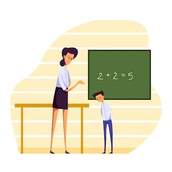 Ludzie w kłótni ilustraci, kreskówka nauczyciela gniewnym charakterze publicznie łaja ucznia lub uczeń chłopiec na bielu