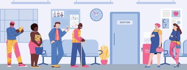 Ludzie w kolejce czekają na wizytę u lekarza w przychodni medycznej ilustracji wektorowych